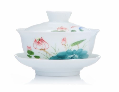Moyishi Handmade Pink Lotus Blossom Chinese Porcelain Gaiwan Traditional Tureen Sancai Tea Cup Tea Set 150ml,Set of 2