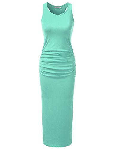 Doublju Stretchy Cotton Racerback Tank Maxi Dress For Women With Plus Size (Made In USA) Mint X-Large