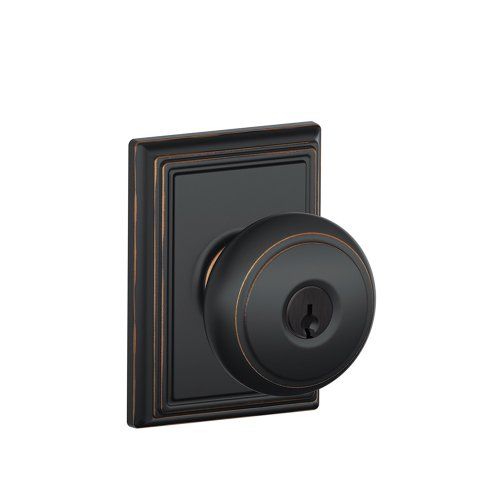 Schlage F51A AND 716 ADD Andover Knob with Addison Trim Keyed Entry Lock, Aged (Bronze Addison Button)
