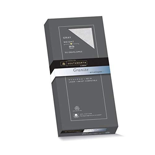 Southworth Fine Granite Envelopes, Size 10, Gray, 50 Count (P914-10L/3/18) ()