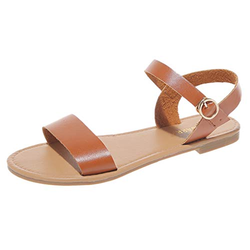 (Women's Open Toe Flat Sandal Adjustable Ankle Strap Buckle Soft Faux Leather Summer Dress Sandals Casual Roma Shoes Brown)
