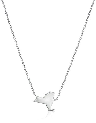Sterling Silver Stationed Mini State New York Pendant Necklace, 16