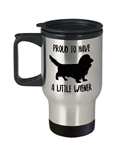 Long Haired Dachshund Travel Mug - Insulated Portable Coffee Cup With Handle & Lid For Long Hair Wiener Dog Lovers - Funny Christmas Gift Idea For Women & Men - Novelty Doxie Lover Quote Accessories