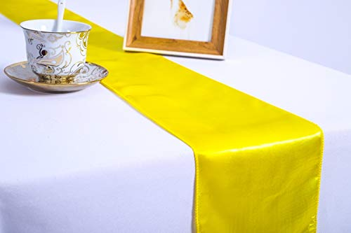 Pack of 10 Wedding 12 x 108 inch Satin Table Runners fit Rectange and Round Table Decorations for Birthday Parties, Banquets, Graduations, Engagements (10, Yellow) -