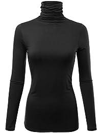 Womens Premium Long Sleeve Turtleneck Lightweight...