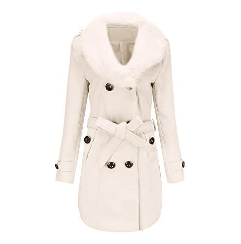 Parka Manches Artificielle Laine Femme De Caban Longues Blanc D'hiver Breasted Trench Blouson Mélange Fnkdor Manteau Veste Double Chaud nwqg1YBn8x
