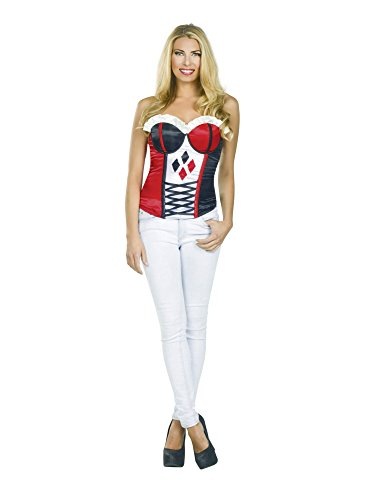 Secret Wishes DC Comics Justice League Superhero Style Adult Corset Top with Logo Harley Quinn, Red, -
