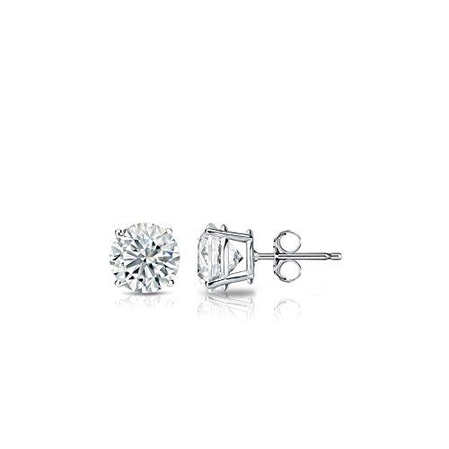 (14k White Gold 4-Prong Basket Round Diamond Stud Earrings (1/3 ct, H-I, I2-I3))