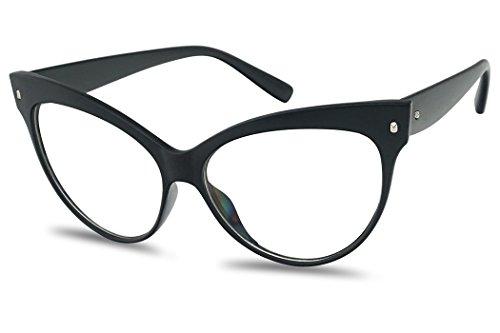 Crazy Horse Glasses Frames (Vinatage Matte Black Cat Eye Oversized Squre Pointed Clear Lens Mod Eyewaer)