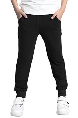 Kids Boys Cotton Fleece Active Pull On Casual Joggers Pants Sweatpants Black, Age 11T-12T (11-12 Years) = Tag 160