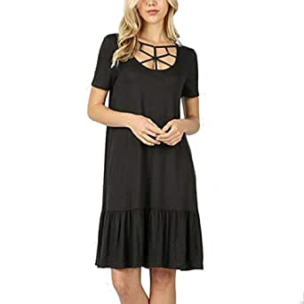 💖💖Verano Moda para Mujer Casual SóLido O-Cuello Corto Sin ...