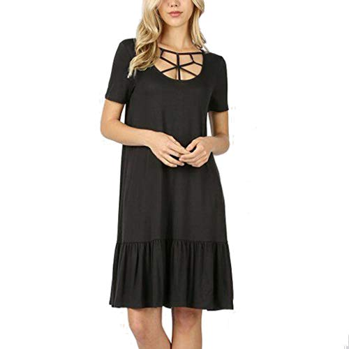 ZSBAYU Women's Summer Casual T Shirt Dresses Solid O-Neck Short Sleeve Swing Dress Hollow Ruffle Pleated Dress with Pockets(Black,L)]()