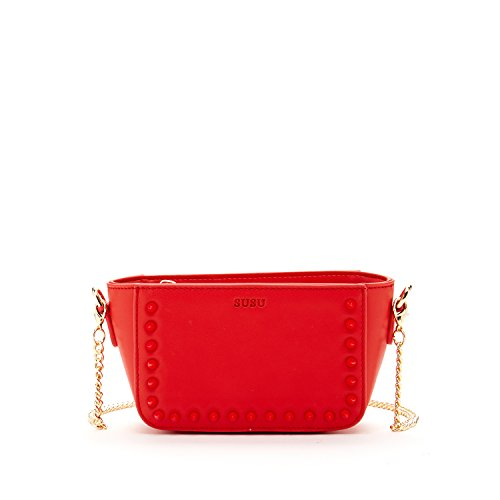 SUSU Red Mini Crossbody Bags For Women Studded Leather Purse For Teen Girl it Bag with Zipper Closure and Long Chain Strap Studs Cross body My First Designer Handbags Young Girl Birthday Gift