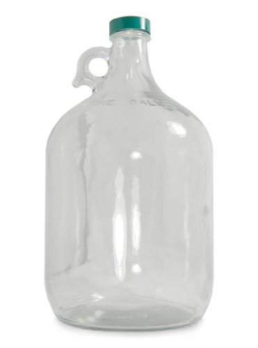 - Qorpak GLC-01408 Clear Glass Jug with 38-400 Green Thermoset F217 and PTFE Lined Cap, 64oz Capacity, 124mm OD x 265mm Height (Case of 6)