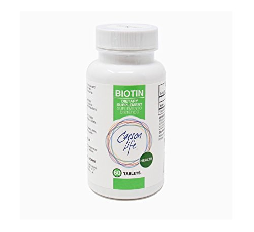 CARSON LIFE Biotin Supplement - 60 Tablets - For Men and Women - Vitamin Supplement That Promotes Hair Growth - Advanced Formula Helps Boost Energy and Cell Growth - Made In The USA