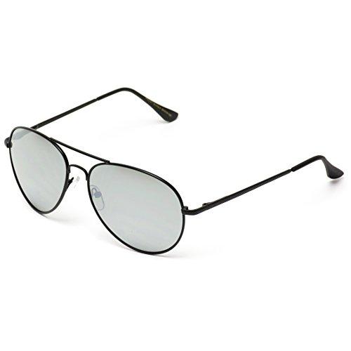 Espejo Negro Plateado Marco Full gafas de metal Lente Color Espejo Aviator Plateado sol g1q7wz