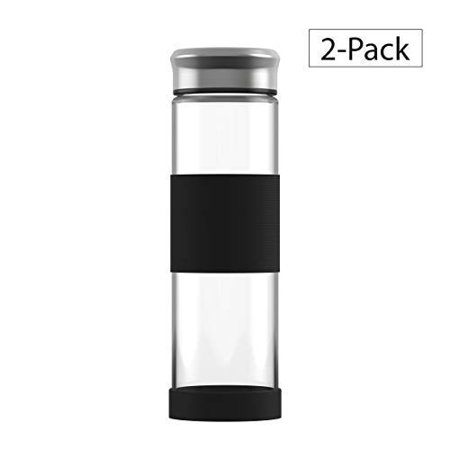 ELDR Supply Glass Water Bottle Eco-Friendly | Wide Mouth | Silicone Sleeve and Base for Non-Slip Grip | Easy to Clean Borosilicate Glass | Double enforced Glass Base (16.9 Oz) (2-Pack)