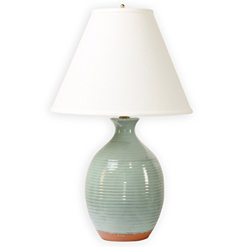 Lamp Green Mist - Microsun Ocean Mist Table Lamp | Adjustable Light Levels, Eight Times More Light with No Glare (Crackle Ceramic Urn, Terra Cotta Detail)