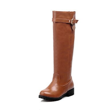 Winter UK4 Dress High Shoes Comfort Boots For CN36 Casual US6 Boots Leatherette Toe Low Boots Women'S Black Knee Brown RTRY EU36 Round Fashion Heel Stqpw