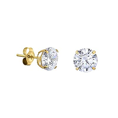 Round Stud Earrings Solid 14k Yellow Gold CZ Solitaire Earring Studs Push Back Basket Cubic Zirconia by GemApex