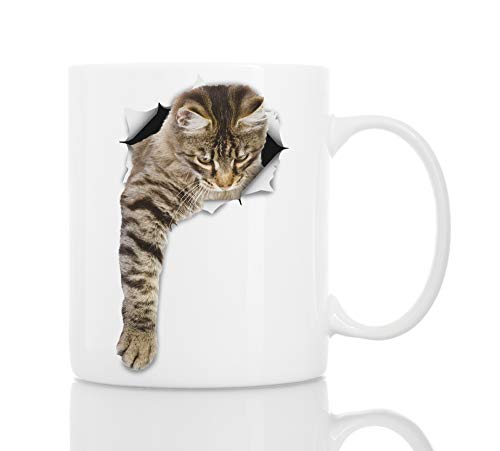 Cute Reaching Tabby Cat Coffee Mug - Ceramic Funny Coffee Mug - Perfect Cat Lover Gift - Novelty Coffee Mug Present - Great Birthday or Christmas Surprise for Friend or Coworker, Men and Women (11oz)