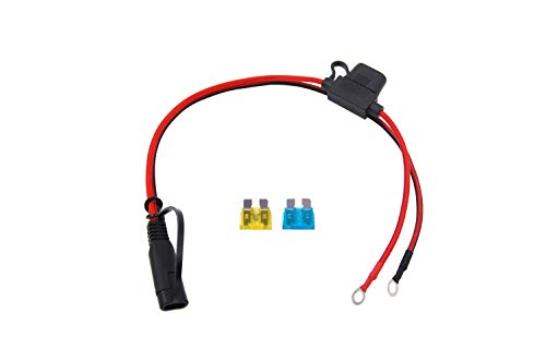 CUZEC 1FT/0.3m 16AWG Ring Terminal to SAE Harness Quick Connect/Disconnect Assembly, 15A Fuse (CU10290B) (Terminal Connecter)
