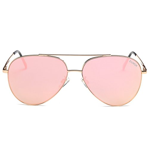Dumok Classic Aviator Unisex Sunglasses Mirrored Flat Lens UV400 Protection Glasses With Gold Frame/Pink - Pink Mirrored Aviators