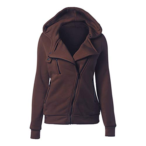 Vêtements Court Capuche Pullover Manches Veste Hzjundasi Longues Jacket Zipper Couleur Manteau Café Unie Hoodie Femme wTSqqUO