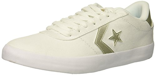 Converse Women's Point Star Low TOP Sneaker, White/Gold, 8 M US 8 Point Point Star