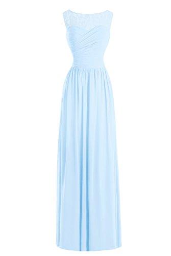 Dasior Longue Cuillère Robe De Soirée Robe De Dentelle Mère Pure Du Ciel Bleu Des Femmes