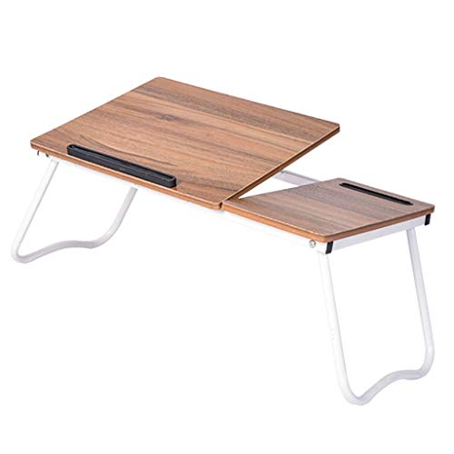 (Desks Computer Student Easy to Move Folding Table Bed Wooden Tabletop Brown (Color : Brown, Size :)