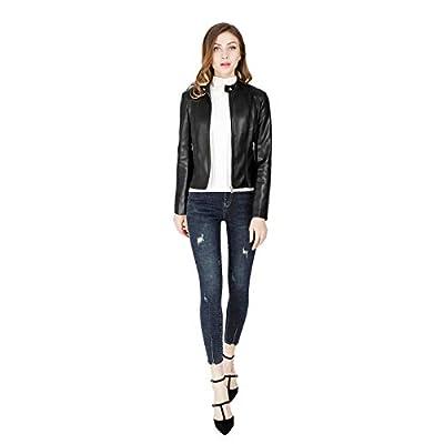 DIASHINY Women's Faux Leather Jacket, Zip Up Moto Biker Coat, Short PU Motorcycle Outwear at Women's Coats Shop