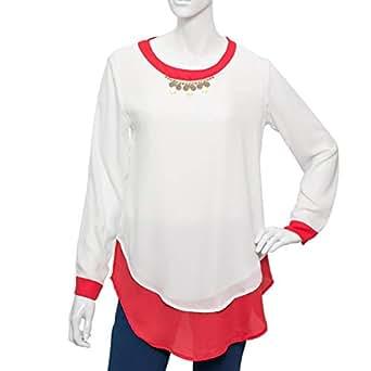 Amorite Multi Color Chiffon Round Neck Blouse For Women