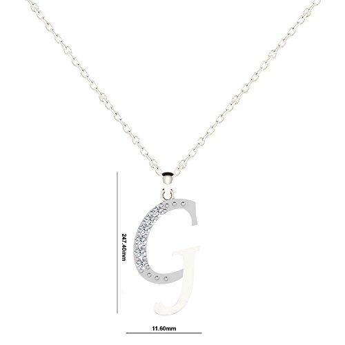 "Libertini Pendentif argent 925 serti de Diamant en forme de ""G"" Alphabet"