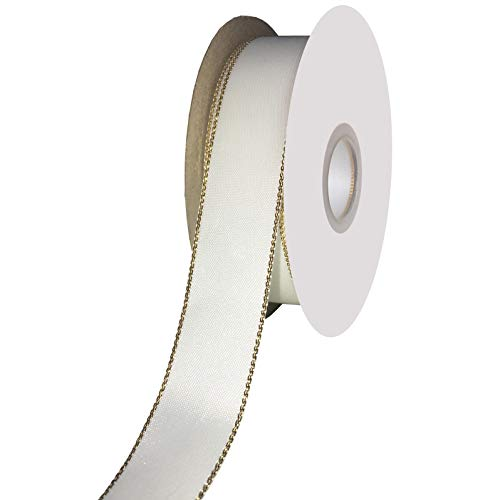 Gold Edge Satin Ribbon - DUOQU 7/8 inch Wide Double Face Gold Edge Satin Ribbon 20 Yards Roll White