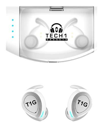 Tech 1 Gadgets TWS True Wireless 5.0 Bluetooth IPX7 Waterproof HD Sound Earbuds. White