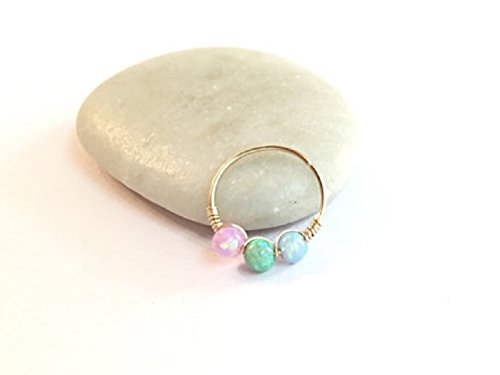 Gold Opal Cartilage Earring Nose Helix Conch Hoop 22g - (Gold Opal Nose Ring)