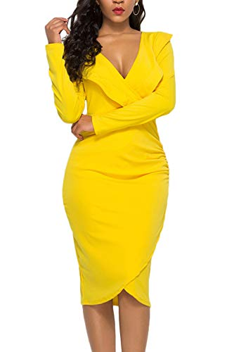 WIWIQS Women's Sexy V Neck Bodycon Long Sleeve Ruffle Dress Front Slit Bandage Midi Club Dresses,Yellow Long Sleeve,S