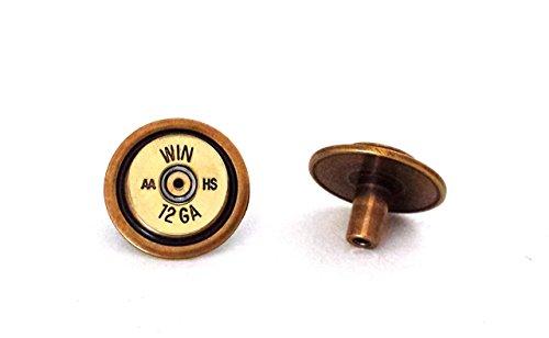 Antique Brass Drawer Pull Knob - 12 gauge Recycled Shotgun Shell Bullet Gun Ammo