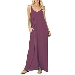 Iandroiy Women's Summer Casual Plain Flowy Swimwear Cover Up Loose Beach Cami Maxi Dresses with Pockets