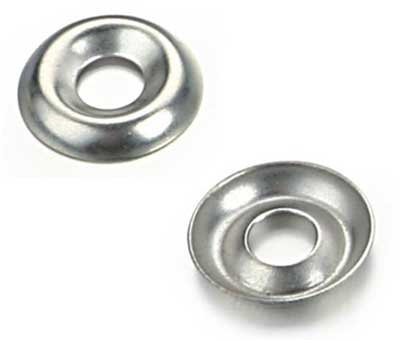 (250) 3/8'' Nickel Plated Countersunk/Cup Finishing Washers