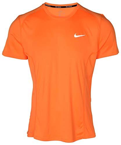 NIKE Men's Dri-Fit Miler Running Shirt-Safety Orange-Small