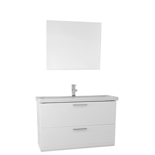 "chic Iotti Iotti LN338 Luna Wall Mounted Vanity with Fitted Sink and Mirror Included, 38"", Glossy White"