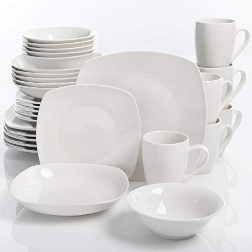 J&T Porcelain Dinnerware Set Square Dinner Plates Dish Servi
