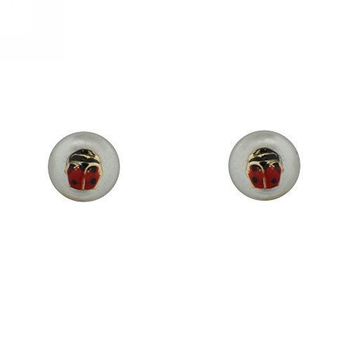 18K Yellow Gold Cultivated Pearl with Lady Bug Earrings with covered Screwbacks (5mm)]()