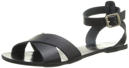Pieces Sara 17054543 - Sandalias de cuero para mujer, color negro, talla 36 Negro (Noir (Black))