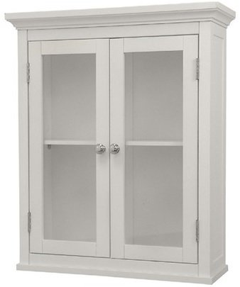 Classique Kitchen (Classique Elegant Wood Wall Cabinet (White), Two Glass Doors, Shelf, Bathroom, Kitchen, Toiletries Medicine Storage)