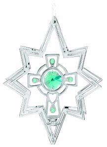 Crystal Cross Austrian - Hanging Sun Catcher or Ornament..... Celtic Cross in Star Shell in Green Swarovski Austrian Crystals