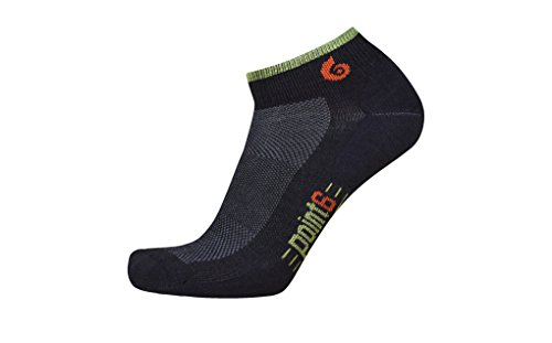Point6 Running, Ultra Light Mini Crew sock - X Large, Black with a Helicase sock ring