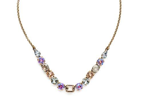 Sorrelli Washed Waterfront Tansy Half Line Swarovski Crystal Antique Goldtone Necklace